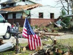 tornado damage + US flag