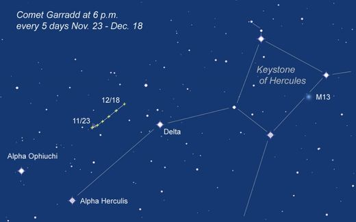 finder chart to track down Comet Garradd