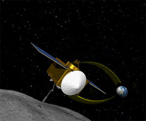 Artist's drawing of the OSIRIS-REx spacecraft.