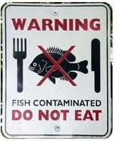contaminated fish sign