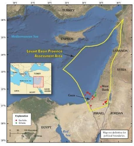 Oil and gas fields in eastern Mediterranean