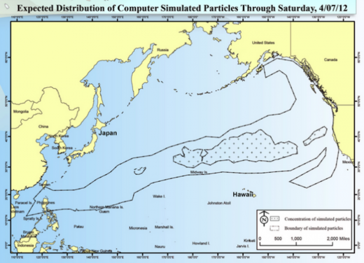 tsunami debris distribution map