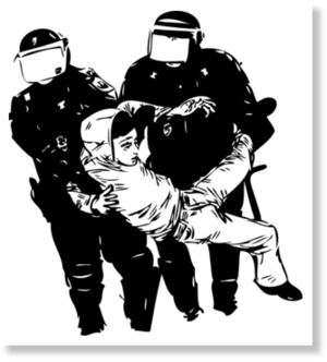 b&w police brutality graphic