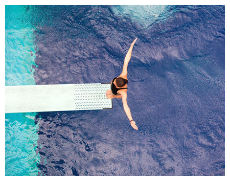 High diving board looking down