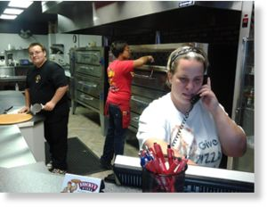Staff at Stocky's Pizza