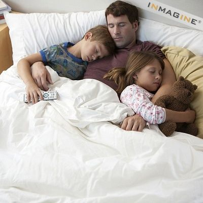 Father's with Children Sleeping