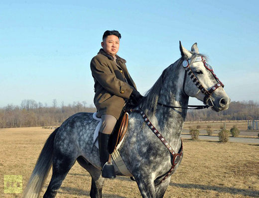 North Korean leader Kim Jong Un riding a hors