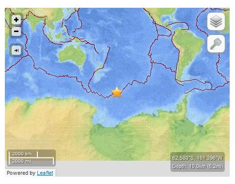 pacific antarctic ridge  USGS: Earthquake Magnitude 6.2 -