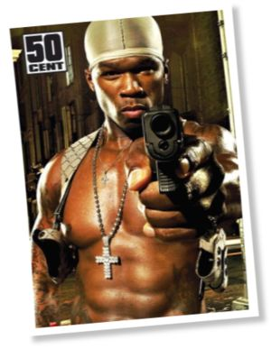 50 cent pointing a pistol