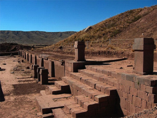 Reconstructed ruins of Tiwanaku in Bolivia