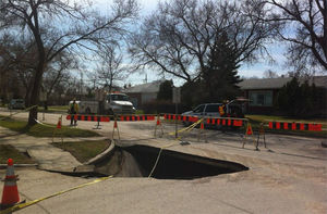 large sinkhole in Winnipeg