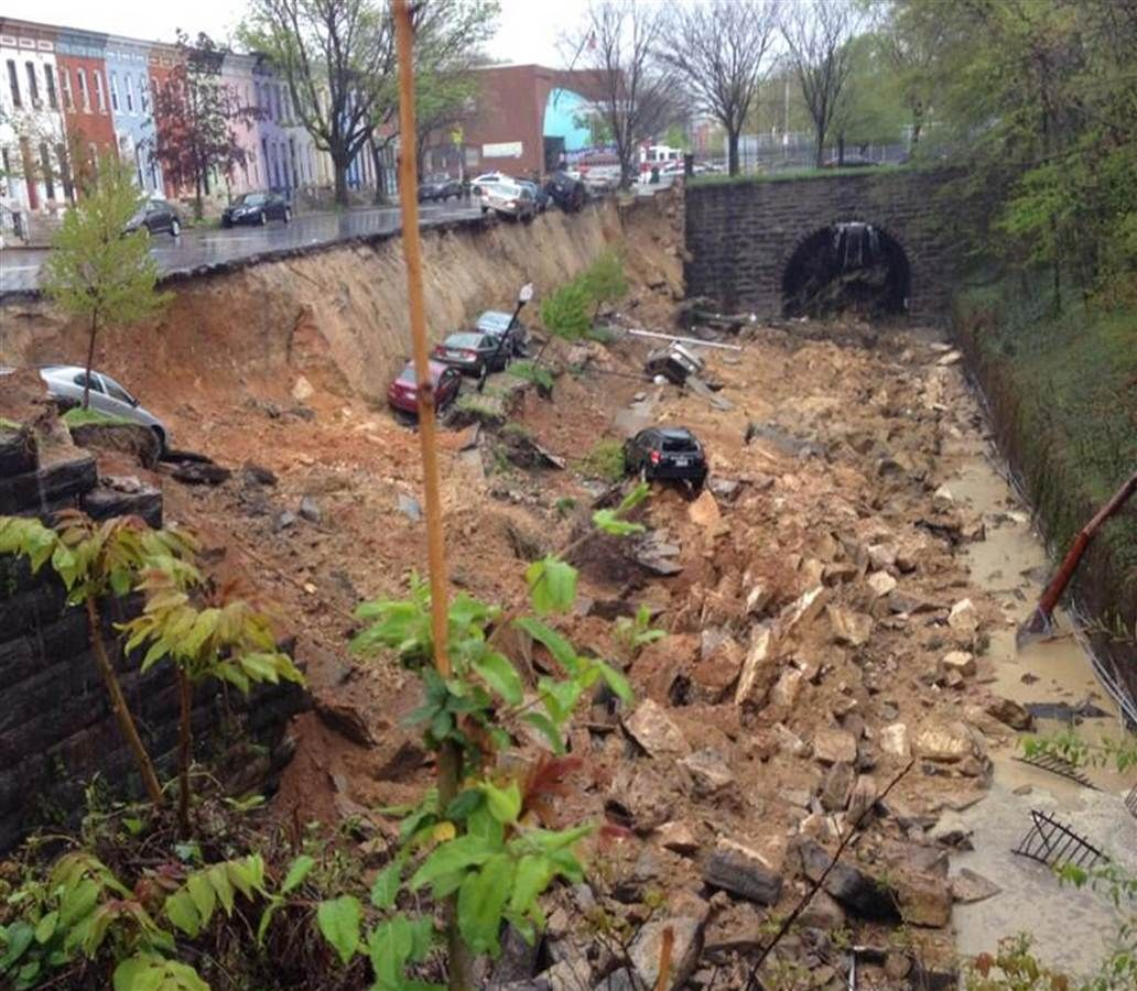 Heavy rains cause a landslide in baltimore maryland