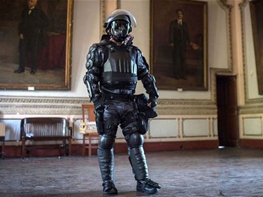 The paramilitary police riot body armour.