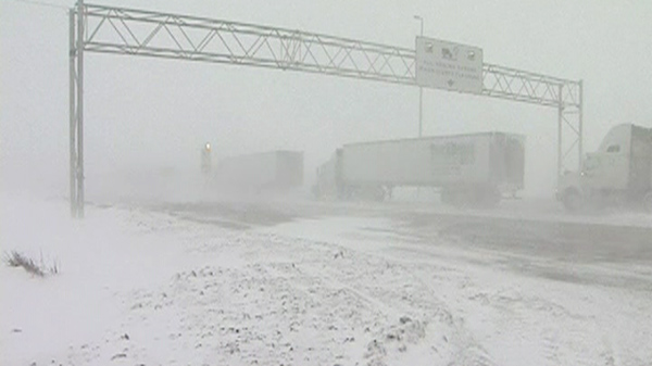 Winter storm closes roads across Canadian Prairies