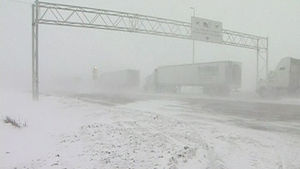 Canada blizzard conditions on Highway 1 wes