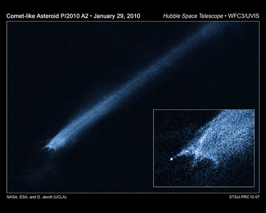 Suspected Asteroid Collision Leaves Trailing Debris