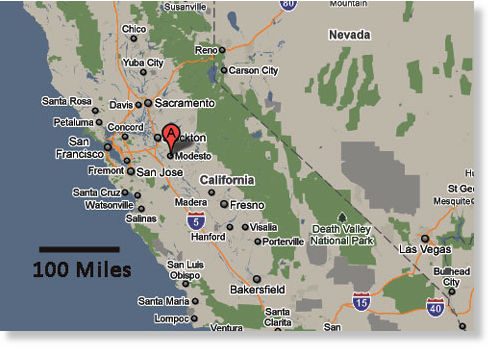 US Neon Blue Objects Seen Hovering In Night Sky High - California map modesto