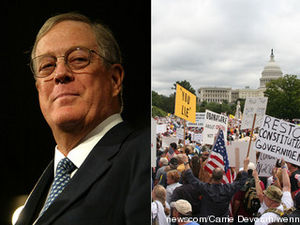 David Koch and Tea Party protesters