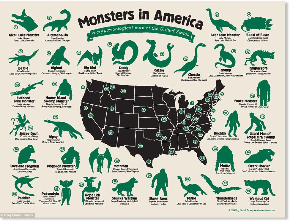 United monsters of America: Infographic shows the location ...