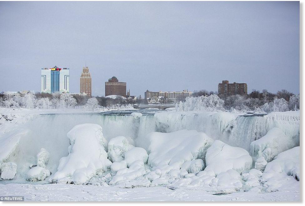 Niagara Falls Freezes Over As Extreme Winter Weather