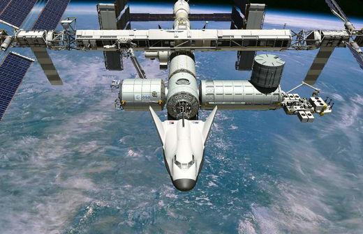 Space Systems Dream Chaser spacecraft attached to the International Space Station.