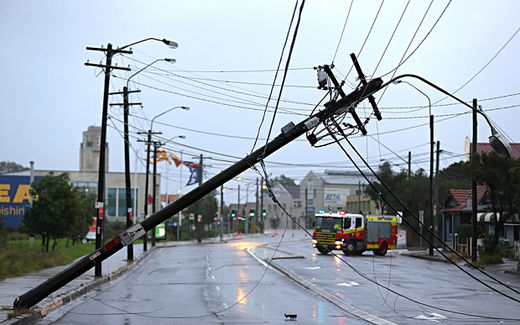A power pole down due to storm in Australia