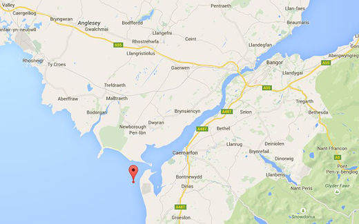 Location of the earthquake off North Wales