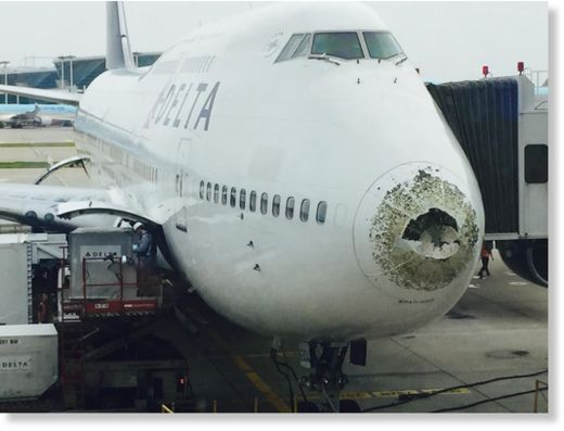 Hailstones Pound Delta 747 Over China Earth Changes