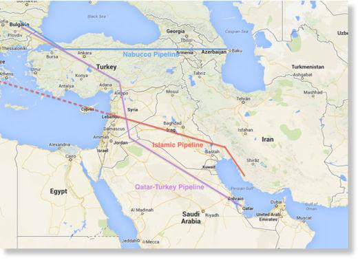 """Projektowany przebieg gazociągu Katar-Turcja, będącego jednym z powodów syryjskiej """"wojny domowej""""."""