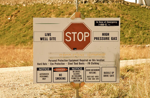 Fracking site sign in Midwestern US