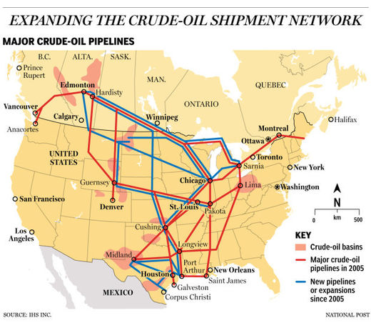 map crude oil pipelines usa