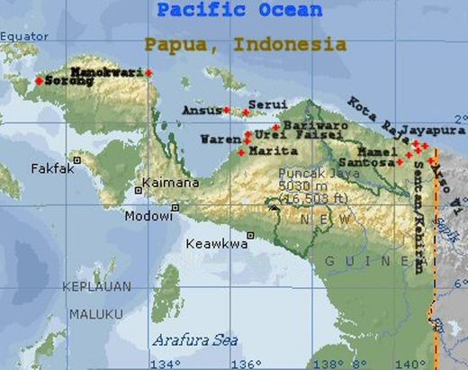 Map of Papua, Indonesia.