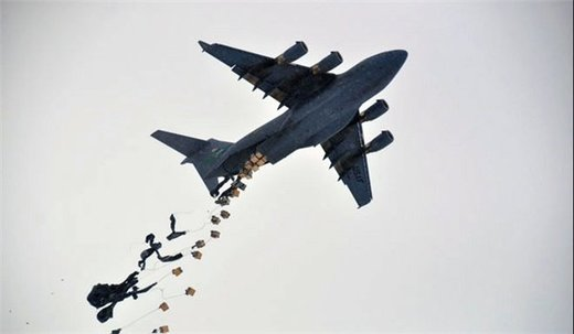 Plane drops Foreign military aid