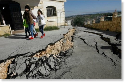 Road collapse after two large cracks mysteriously appeared in the village of Bissarieh in Lebanon.