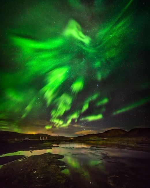 phoenix forms in sky over Iceland