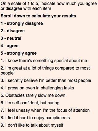 Covert narcissism test