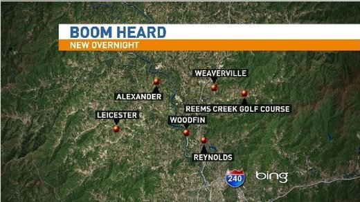 Multiple reports of loud boom in Buncombe County, North Carolina