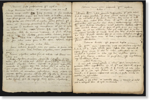 This 17th century manuscript contains instructions that Newton copied from an American alchemist's writings, as well as descriptions of one of Newton's own experiments.