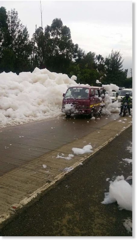 CAR WASH? NO! its the foam from Mbagathi river
