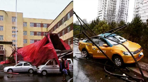 strong winds in Harbin, China