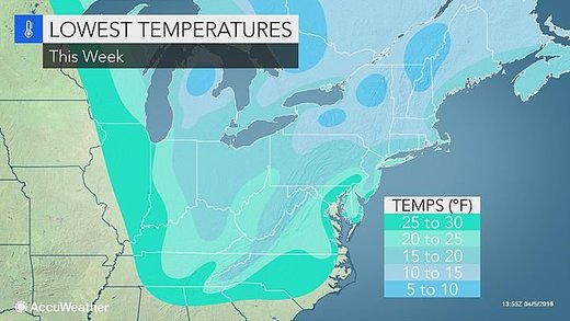 low temperatures east USA April 2016