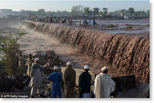 The weekend's heavy rains turned the streets on the outskirts of Peshawar in northern Pakistan into rivers