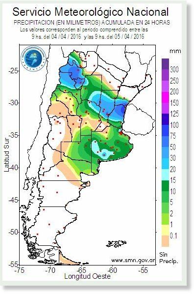 Rainfall map for Argentina 04 to 05 April 2016.