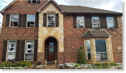 Damage: This house is one of many houses left completely shattered by the intense ice clumps