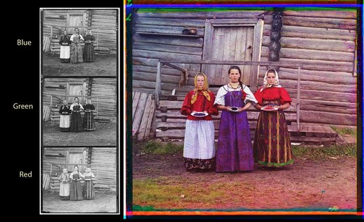 Three young women offer berries to visitors to their izba, a traditional wooden house, in a rural area along the Sheksna River, near the town of Kirillov. (1909)