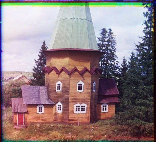 Wooden Church of the Transfiguration of Our Lord. The village of Pidma. [Russian Empire] (1909)