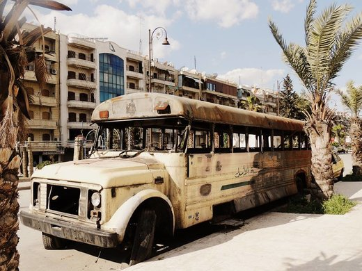 aleppo bus burned