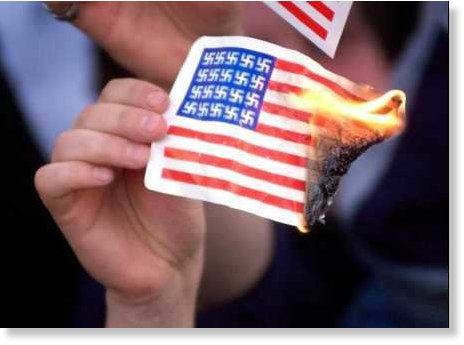 burning us flag swastikas