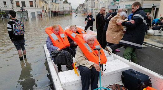 Flooded Residents in Nemours, near Orleans, France