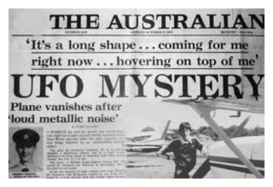 Front page of The Australian with headline about Valentich Mystery
